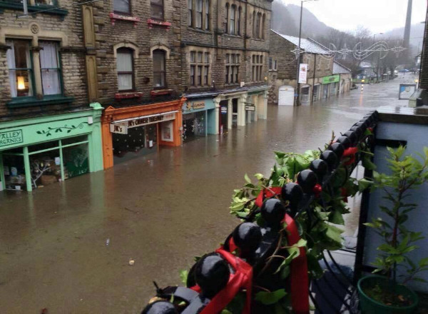 Hebden Bridge under Flood Christmas 2015